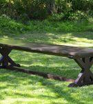 Rustic X Trestle Farmhouse Dining Room Table
